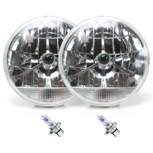 "Tri-Bar 7/"" Inch Lens Assembly w// H4 Bulb Harness and Clear Turn Signal  Pair"
