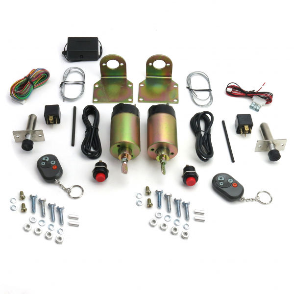 New 4 Door Kit 85 lb with 2 Remotes Shaved Handle Door Popper